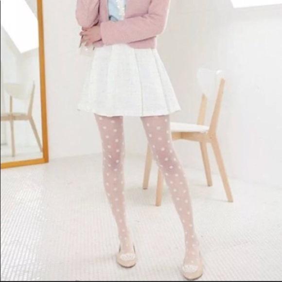 e964994f22c White Polka Dot Tights Pantyhose Size OS